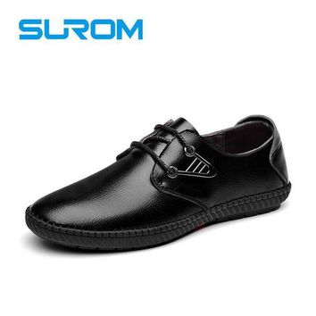 SUROM Fashion Men Leather Shoes Lace up Fashion Male Lace up Dress Shoes Black and Bro