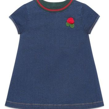 Gucci Knit Collar Denim Dress (Baby Girls) | Nordstrom
