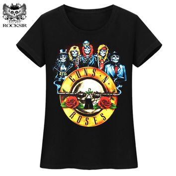 ROCKSIR GUNS N ROSES Skull Rose Printed women T shirts black rose tops T-Shirt tshirt casual cotton skull t shirt for women