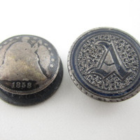 1858 Seated Liberty Dime Cufflinks Love Token Cuff Links Old Coins Numismatic Hand Engraved Antique Jewellery Men's Jewelry Cuff Buttons