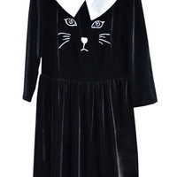 "ROMWE | ""Cat Embroidery"" Black Autumn Dress, The Latest Street Fashion"