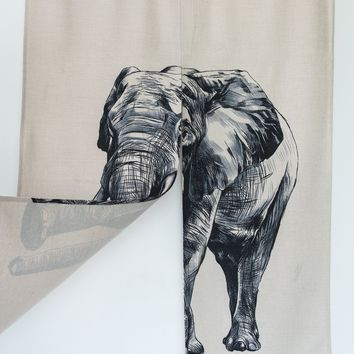"Japanese Noren Doorway Curtain Tapestry 33.5"" Width x 47.2"" Long, African Elephant"