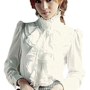 ezShe Womens Stand up Collar Lotus Ruffle Satin Shirt Blouse