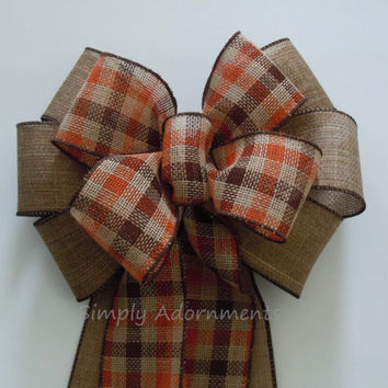 Fall Tartan Burlap Bow Brown Orange Tartan Burlap Wreath Bow Fall Country Wedding Bow Fall Wedding Chair Bow