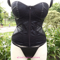 Black Women Boned Lace Up Laux Leather Bustier 2014 New Sexy Corset