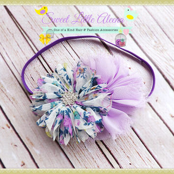 Purple Floral Headband, Shabby Chiffon Hairband, Baby Headband, Infant Flower Hair Bows, Toddler Hair Clip, Big Newborn Bows, Rhinestone Bow