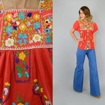 70s Mango EMBROIDERED Mexican OAXACAN bohemian hippie gypsy festival CROPPED Blouse top shirt, extra small-medium