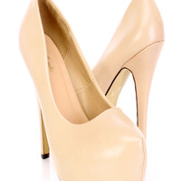 Nude Closed Toe Platform Pump Heels Faux Leather