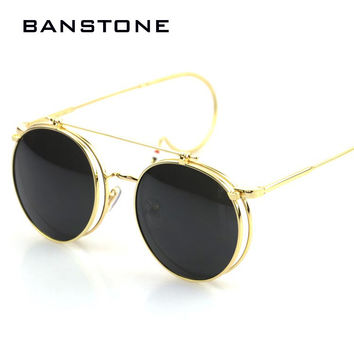 BANSTONE Fashion Flip Double Round Sunglasses Women Men Circle Retro Coating Steampunk Sunglasses