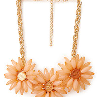 FOREVER 21 Sunburst Faux Stone Necklace Peach/Gold One