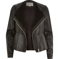 River Island Womens Black leather collarless biker jacket