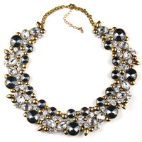 Gem Filled Choker Statement Necklace | Two Colors