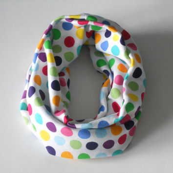 Polka Dot Toddler Infinity Scarf, Child Infinity Scarf, Kid Infinity Scarf, Loop Scarf, Tube Scarf, Circle Scarf, Drool Scarf Bib