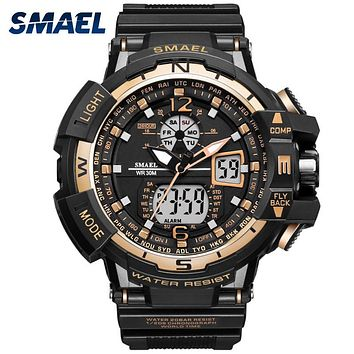 SMAEL Luxury Brand Men Digital Sport Watches Dual Display G Style Military Army Watches Waterproof Male Clock relogio masculino