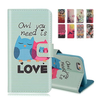 Wallet Style Flip Case with Cute OWL Print For Apple iphone 5 5S 5G