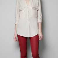 BLOUSE WITH STUDDED POCKET - Woman - New this week - ZARA United States