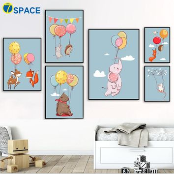 Deer Fox Bear Elephant Nordic Posters And Prints Canvas Painting Wall Art Print Watercolor Wall Pictures Baby Girl Room Decor