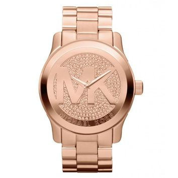 NWT MICHAEL KORS Runway Rose Gold Oversized Pave Crystal 45mm Watch MK5661 $295