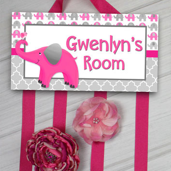 HAIR BOW HOLDER - Personalized Hot Pink Grey Elephant HairBow Holder Organizer - Girls Personal Hair Bow and Clip Hanger HB0171