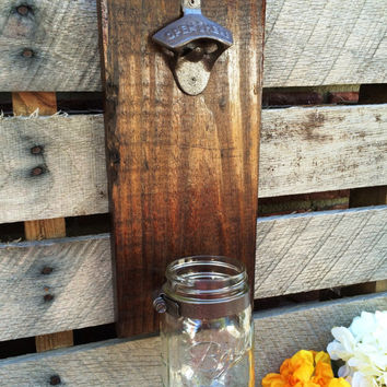 Rustic Pallet Wood Beer Bottle Opener and Cap Catcher,Groomsmen Gift,Man Cave,Wedding,Best Man Gift,Wedding Gift,Husband Gift,Gift For Dad