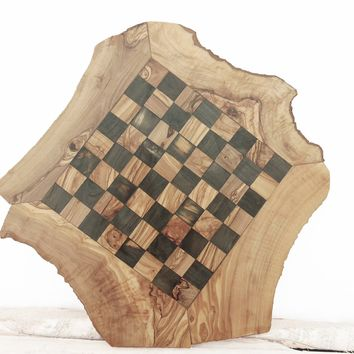 Large Rustic Wooden Chess Board Set 17.7-Inch, Engraved Chess Set Board Game,Dad