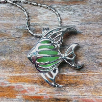 Lime Green Sea Glass Angel Fish Necklace Silver  Genuine Beach Glass Tropical Summer