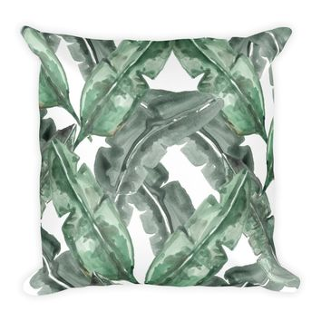 Watercolor Banana Leaf Pillow