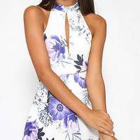 Floral Print Halter Neck Prom Homecoming Party Dress 9896