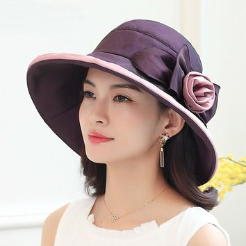 Top grade lady sun hat summer Anti UV beach hat good quality women fashion wide brim flower bucket hat