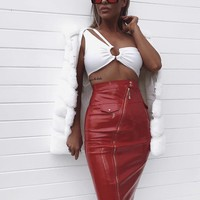 Kil Sexy White top and Red Vegan Leather Skirt Set