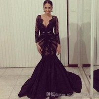 Black Prom Dresses Mermaid Long Sleeve Lace Formal Pageant Evening Gowns Custom