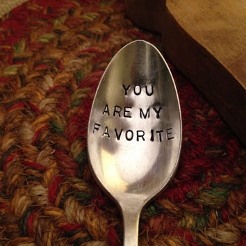 Hand Stamped Silver Spoon, Valentine's Day Gift, Girlfriend Gift, Boyfriend Gift, Stamped Vintage Spoon, Daughter Gift, Office Gift