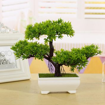 New Fashion Plastic Artificial Tree Plants Ceramics Bonsai Tree Pot Culture For Office Home Living Room Furnishings Decorative