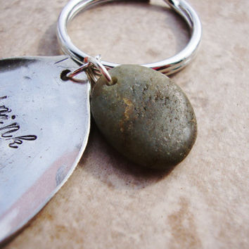 Drink coffee read books be happy recycled teaspoon key chain with beach stone