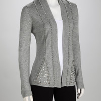 Fog Heather Sparkle Open Cardigan