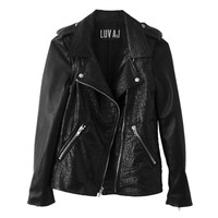 Luv Aj Leather Moto Jacket in Croc Embossed Lambskin with Chrome Hardware