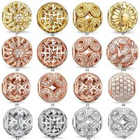 ICIKJY1 V.YA Rose Gold Crystal Beads Fit Pandora Bracelet Necklace Charms Fashion Women Jewelry Big Hole DIY Beads For Jewelry Making