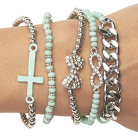 Rhinestone & Chain Friendship Bracelet Pack | Wet Seal