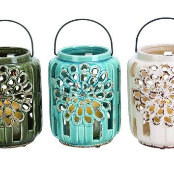 Beautifully Carved Ceramic Lantern 3 Assorted By Benzara