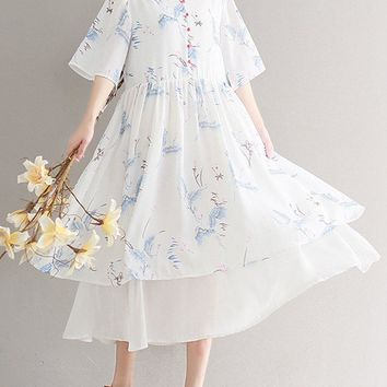 Vintage Floral Print Loose Layered Half Sleeve V-neck Women Dress