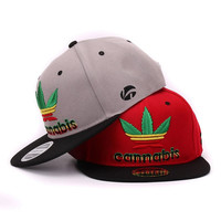 Quality weeds Snapback cap weed leaf flat baseball cap 3D raised embroidery pop