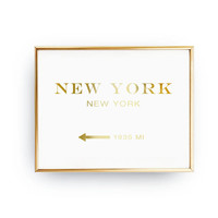 New York New York 1935 MI,Inspirational Poster, New York Print, Bedroom Decor, Real Gold Foil Print, Girls Inspired Poster, New York Art