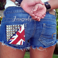 Union Jack shorts,low rise denim shorts,studded shorts by Jeansonly