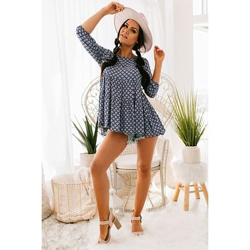 Know My Type Printed Babydoll Tunic Top (Navy)