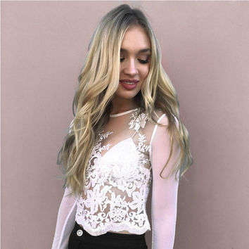 Floral Lace Sheer Mesh Blouse