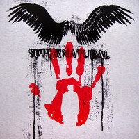 Supernatural Castiel angel wings T-Shirt screenprint Perdition