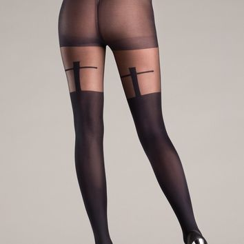 Be Wicked Shadow Cross Design Pantyhose