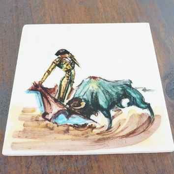 Vintage Matador Art Ceramic Tile, Hand Painted,,Made In Mexico
