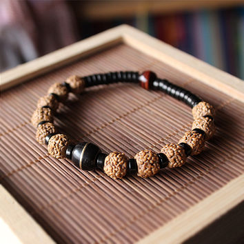 Ethnic Natural Coconut shell With Rudraksha Tiger eye Beads Bracelet Unisex Healthy Jewelry Tibetan Stretch Bracelet