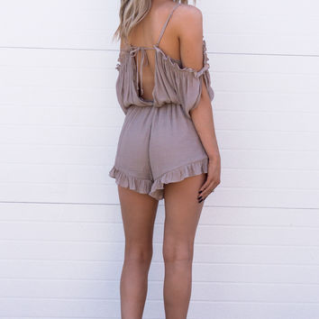 Verona Ruffle Off Shoulder Playsuit- Tan